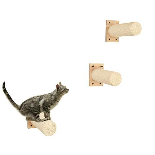 MOUHIV Poste rascador para Gatos Cilindro de sisal Intercambiable Montado en la Pared Cat Scratcher Kitty Bed Kitten Lounge Cat Bars Handmade, 48CM