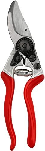 Felco Gartenschere Nr. 8, Bypass Rebschere für Rechtshänder, mit Präzisionseinstellungssystem, geschraubter Klinge, Gegenklinge aus gehärtetem Stahl und einfacher Schnitteinstellung, rot