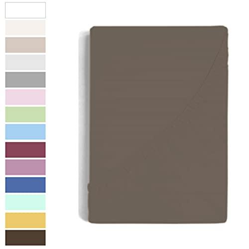 Serena - Bajeras con Esquinas Elásticas Super Ajustables, 50% Algodón 50% Poliester, (Marron, 120 X 197+30 cm)
