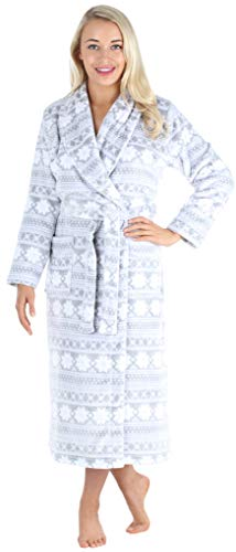 PajamaMania Women's Plush Fleece Long Bathrobes, Hooded Sherpa-Lined Robes