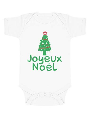 Green Turtle T-Shirts Joyeux Noël Sapin Body Unisexe Cadeau bébé Body Bébé Manche Courte 12-18 Mois Blanc