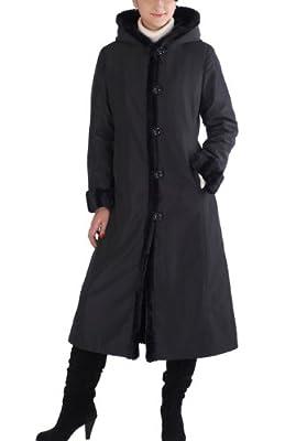 BGSD Women's Lorraine Hooded Reversible Faux Mink Fur Maxi Walking Coat Black Medium by