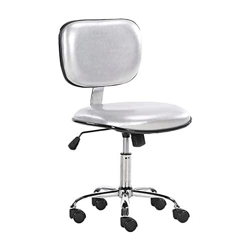 ZLHW Silla de trabajo giratorio de cuero sintética Silla de trabajo de silla de ordenador giratorio ajustable con sillas de escritorio del respaldo (color: plata)