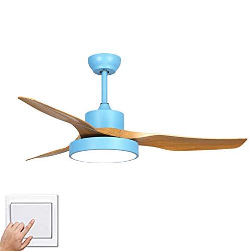 Metalen blikken asbak 3 vleugels 3 snelheden plafondventilatoren met verlichting, plafondlamp monteren plafondventilatoren binnenverlichting plafondlamp ventilator -blauw A