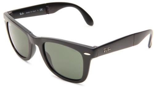 Ray-Ban Unisex Rb 4105 Folding Wayfarer Sonnenbrille Polarisiert 54 mm, Schwarz (schwarz/klassisch grün), 54 mm