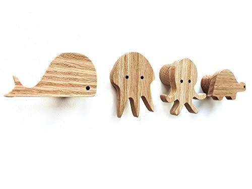 PLT Perchero de pared infantil de madera con diseño de animales, para habitación de los niños, tortuga, ballena, pulpo, medusas, decoración, perchero, perchero, estilo escandi, idea de regalo