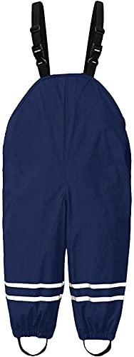Willand Unisex Kinder Regenlatzhose, Kinder Regenhosen, Wind- und wasserdichte Matschhose Atmungsaktiv Verstellbaren Trägern Regenhose für Fahrrad Sport-Dunkelblau