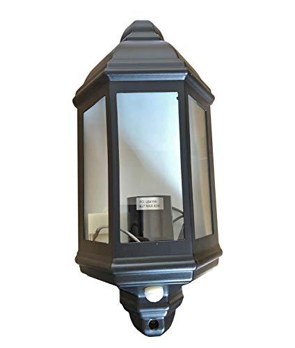 Lámpara exterior negra con detector de movimiento rústico, marítimo, IP44, aluminio y cristal, de Livorno, exterior, lámpara de pared, jardín, terraza