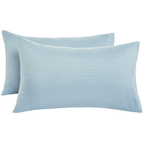 AmazonBasics - Fundas de almohada de microfibra deluxe, 50 x 80 cm x 2, azul spa