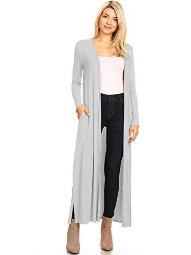 ANNA-KACI Damen Strickjacke Casual Cardigan Jacke Asymmetrisch Offener V-Ausschnitt knöchellange Mantel Oberteil Übergröße