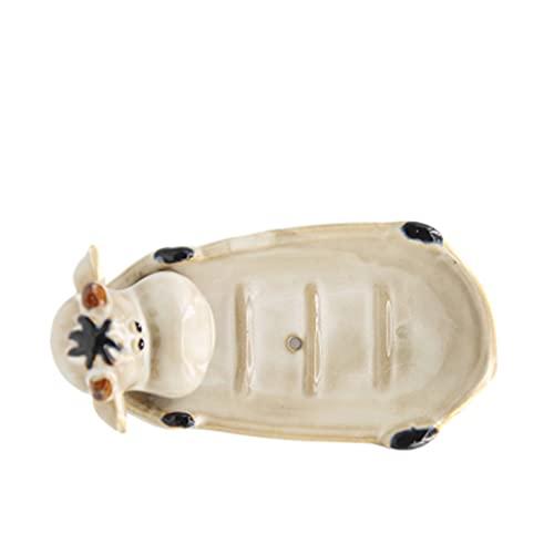 ZAIZAI Caja de jabón de cerámica Caja de Ducha Viaje Senderismo Soporte Dispensador Jabón Estante Europeo Accesorios de baño (Color : A)