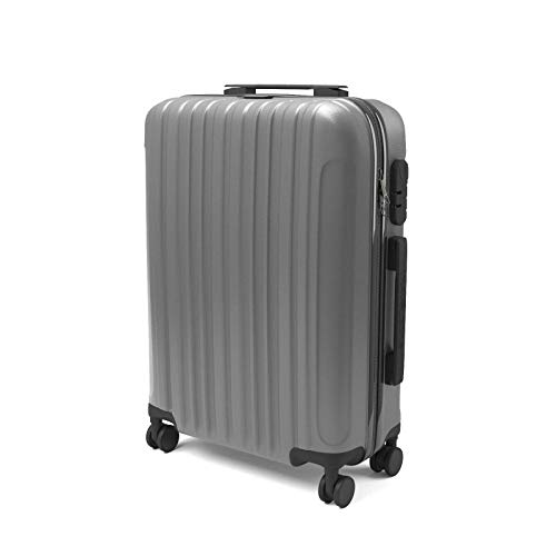 Eglemtek ABS Maleta Equipaje de mano cabina rígida ligera con 4 ruedas, 55cm ,trolley cáscara dura , color gris
