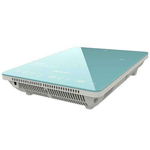 Cecotec Placa de inducción portátil Full Crystal Sky. 2000 W, Potencia y Temperatura regulable, 4 programas preconfigurados, Temporizador, Sartenes hasta 28 cm