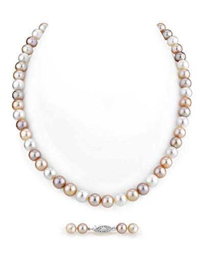 """THE PEARL SOURCE 6.5-7mm AAA Quality Round Multicolor Freshwater Cultured Pearl Necklace for Women in 20"""" Matinee Length"""