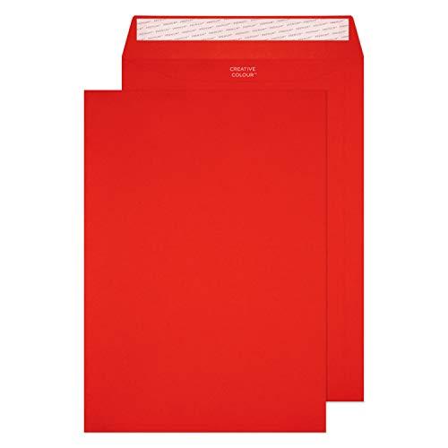 Creative Colour 63406P Farbige Briefumschläge Haftklebung Pillar Box Rot C4 229 x 324 mm 120g/m² | 10 Stück