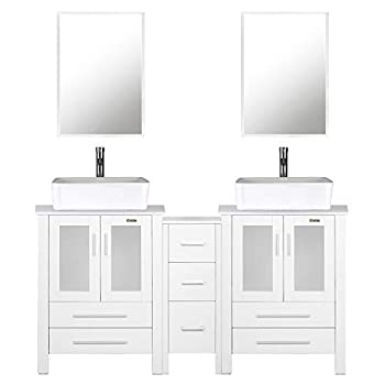 """eclife 60"""" Bathroom Vanity Sink Combo White W/Side Cabinet Vanity White Ceramic Vessel Sink and Chrome Bathroom Solid Brass Faucet and Pop Up Drain W/Mirror T03 2B02W"""