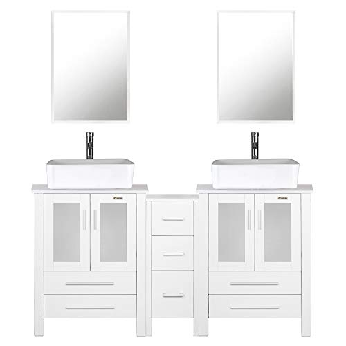 "eclife 60"" Bathroom Vanity Sink Combo White W/Side Cabinet Vanity White Ceramic Vessel Sink and Chrome Bathroom Solid Brass Faucet and Pop Up Drain, W/Mirror(T03 2B02W)"