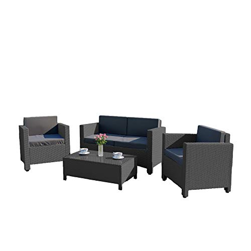 Abreo ROMA 4 Seater Outdoor Garden Rattan Patio Set Conservatory Furniture Sofa Armchair Coffee Table (Dark Grey with Dark Cushions)
