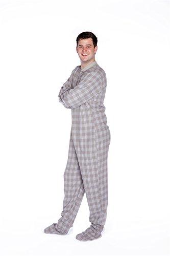 BIG FEET PAJAMA CO. Grau & Weiß Karierter Baumwollflanell Erwachsene Onesie Fußpyjamas mit Butt Flap hinteren Klappe für Männer & Frauen