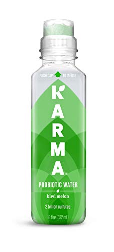 Karma Wellness Flavored Probiotic Water, Kiwi Melon, 18 Fl Oz (Pack of 12), Immunity and Digestive Health Support, Low Calorie, 2 Billion Active Cultures