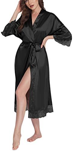 Halffle Damen Morgenmantel Bademantel Satin Sexy Kimono Lang Robe mit Gürtel Nachthemd für Braut Nachtwäsche mit Blumenspitze Seide Kimono Schwarz XL
