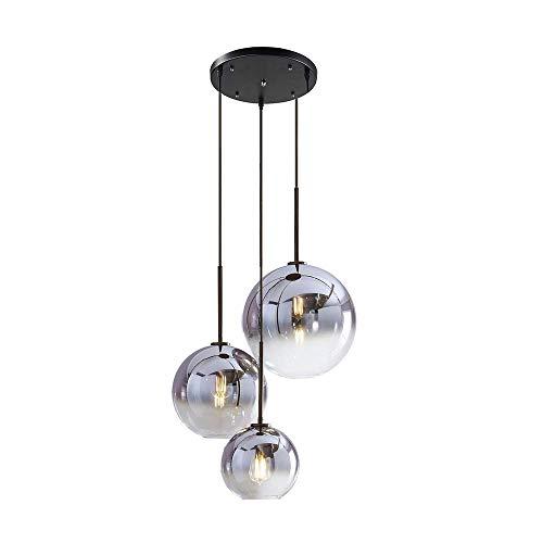 MZStech Set 3 vie Lampada a sospensione a sfera in vetro colorato sfumato globo, 3 luci Moderna lampada a sospensione in vetro (Argento)