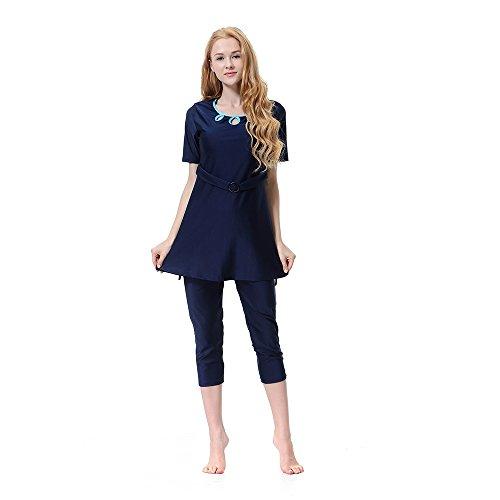 CaptainSwim Damen Bescheiden Badeanzüge Muslimische Bademode Hijab Badeanzug islamische Kurze Hülsen-Schwimmen Sätze (Navy blau, Int'l-L Höhe(160-170cm))
