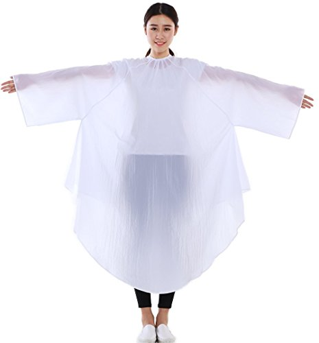 Professional Salon Client Hair Cutting Cape Gown, Barber Haircut Cape with Sleeves - White