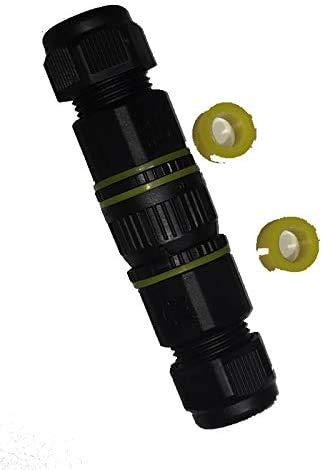 Outdoor-Steckverbindung IP68 inkl. Schutzkappe, Schnellverbinder, Stecker + Buchse, 4polig, bis 12mm, codiert, steckbare Lösung zur Verbindung von 2 Kabelenden bspw. im Garten