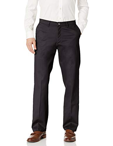 Lee Men's Total Freedom Stretch Relaxed Fit Flat Front Pant, Black, 34W x 32L