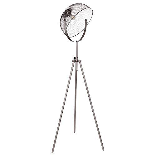 Lámpara de pie de 3 patas, pantalla de metal trenzado, color gris oscuro y cromo.