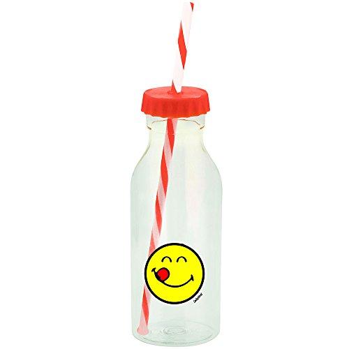 Smiley Emoticon Lecker Flasche mit Strohhalm 55cl - orange