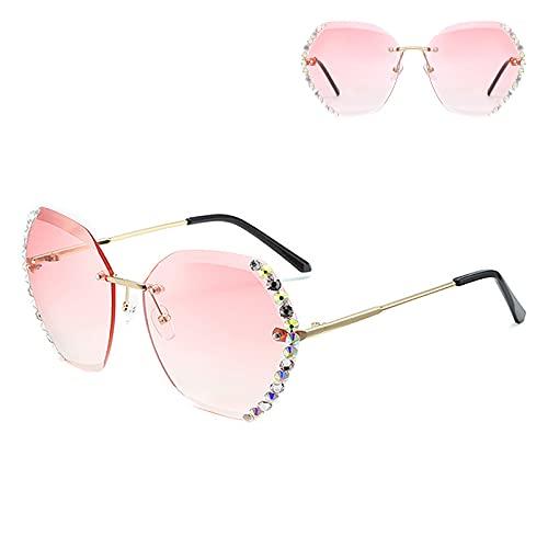 Gafas de sol de sombra para mujer, sin montura de protección UV, adecuadas para ciclismo, correr, playa, pesca, color rosa