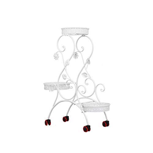 Bloem Rekken Smeedijzer bloem frame multi-layer push-pull mobiele katrol bloem stand woonkamer bloempot rek staande groene roos opknoping orchidee plank Plant Stands