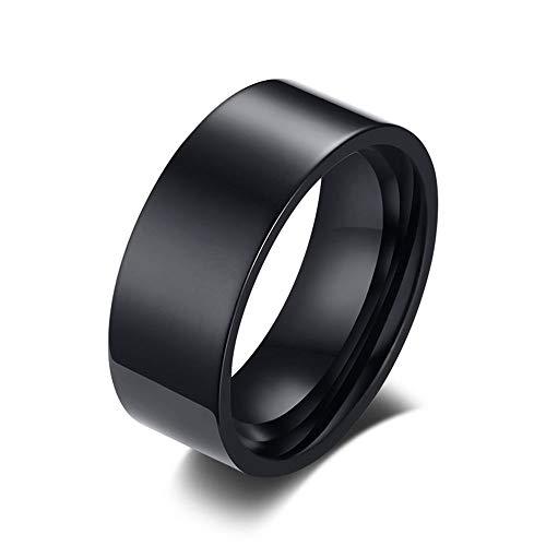 Rockyu ブランド 人気 リング メンズ 黒 ブラック チタン 指輪物語 8�o 幅広 シンプル 鏡面処理 平打ち 結婚指輪 婚約指輪 17号 シンプル ファッション アクセサリー