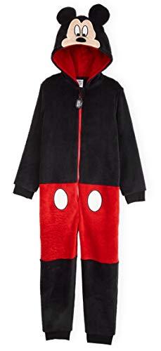 Disney Mickey Mouse Pijama Niño de Una Pieza, Pijama Entero con Capucha y Cola 3D, Pijamas Niños...
