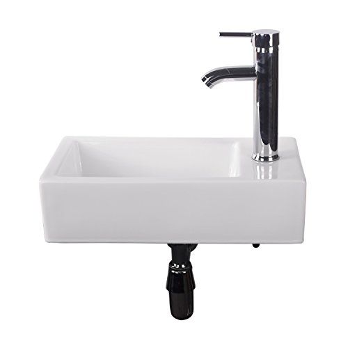 Walcut USBR1031 Bathroom Wall Mount Rectangle White Porcelain Ceramic Vessel Sink & Chrome Faucet Combo
