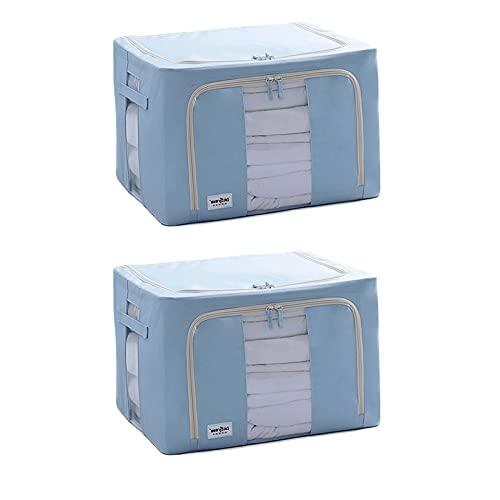 DaFei Cajas De Almacenaje Ropa Plegable 2PCS, 66L Bolsas De Almacenamiento Ropa, con Asa Y Ventana Transparente, Organizadoras para Edredones Fundas (Color : BB)