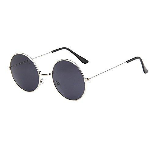 Lazzboy Frauen Männer Vintage Retro Brille Unisex Driving Round Frame Sonnenbrille Eyewear Runde Mit Schmalem Metall Gestell(B)