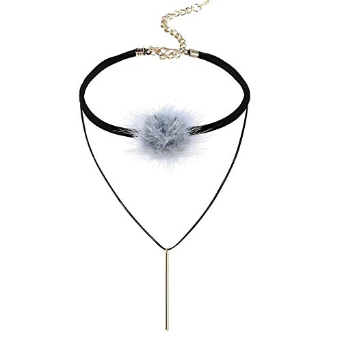 KnBob Choker Necklace Grey Gold Ball Necklace Stainless Steel for Women