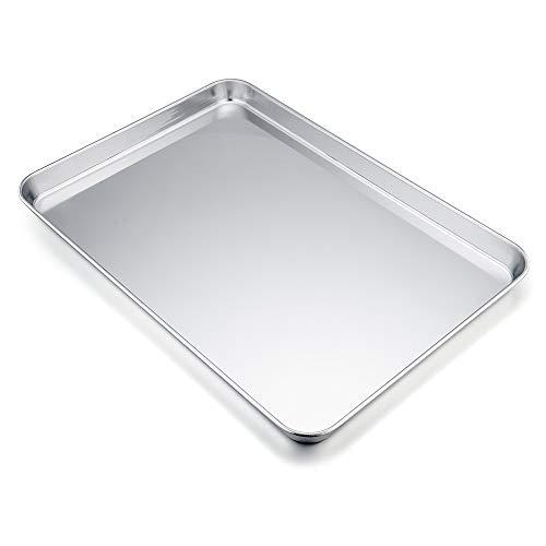 TeamFar bandeja para horno, bandeja para hornear galletas de acero inoxidable profesional, no tóxica y saludable, acabado espejo, fácil de limpiar y apta para lavavajillas