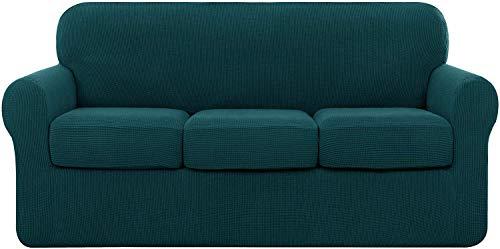 subrtex 3 Plazas Funda de Sofá de con 3 Cojines de Asiento Separados de Alta Elasticidad para Sillón Anti Arañazos Protector de Muebles Lavables (3 Plazas, Azul Verde)