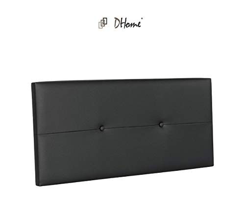 DHOME Cabecero de Polipiel o Tela AQUALINE Pro cabeceros Cabezal tapizado Cama Polipiel Negro, 110cm (Camas 80/90/105)