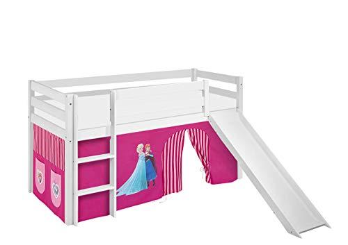 Lilokids Spielbett Jelle Eiskönigin, Hochbett mit Rutsche und Vorhang Kinderbett, Holz, rosa, 208 x 98 x 113 cm