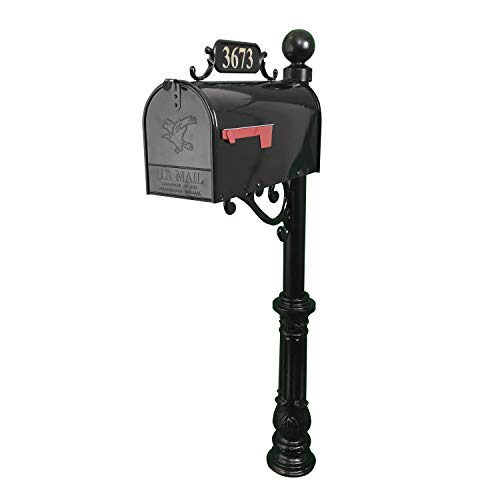 Addresses of Distinction Corinthia Mailbox with Post Combo – Black Aluminum Decorative Mailbox – Includes Address Plaque, House Numbers, Ball Finial, & Hardware (Large)