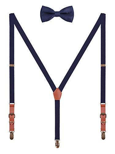 WANYING 2cm Hosenträger Fliege Sets | Retro PU Leder 3 Messingartige Clips Y Form Hosenträger Elastisch Verstellbar für Körpergröße 140-190cm - Dunkelblau