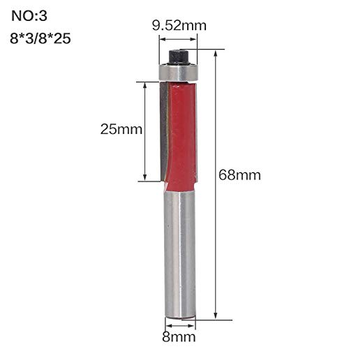 SY-PDXD, 1pc 8 mm Vástago de Ajuste al RAS Router bit con el cojinete Superior del carburo Rectas Fresas de Herramientas for Trabajar la Madera (Size : NO3)