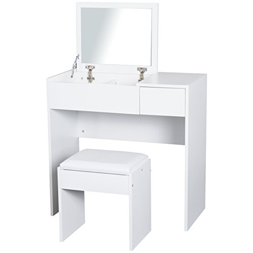 HOMCOM Coiffeuse Table de Maquillage Design Contemporain 80L x 40l x 79H cm Miroir escamotable, tiroir, Coffre + Tabouret Blanc