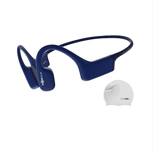 Aftershokz Xtrainerz Schwimm MP3-Player, Open-Ear Bone-Conduction Kopfhörer, wasserdichte/Wireless/Ohne Bluetooth/4GB Speicher/Leicht 30g, Blau