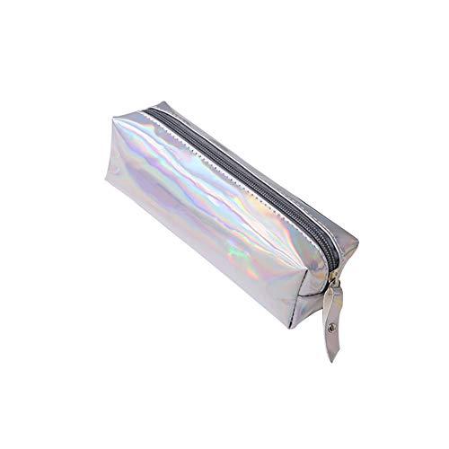 Beito 1 Stück Bleistifttasche Holographic Reißverschluss Pen Taschen Kosmetik Taschen Laser Makeup Pouch Halter Briefpapier(Silber)